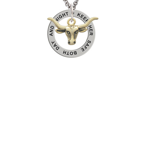 Gold Tone Longhorn Keep Her Safe Both Day And Night Affirmation Ring Necklace