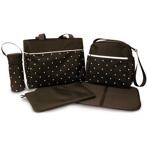 Pretty Baby - 5-in-1 Diaper Bag, Black and White Dot