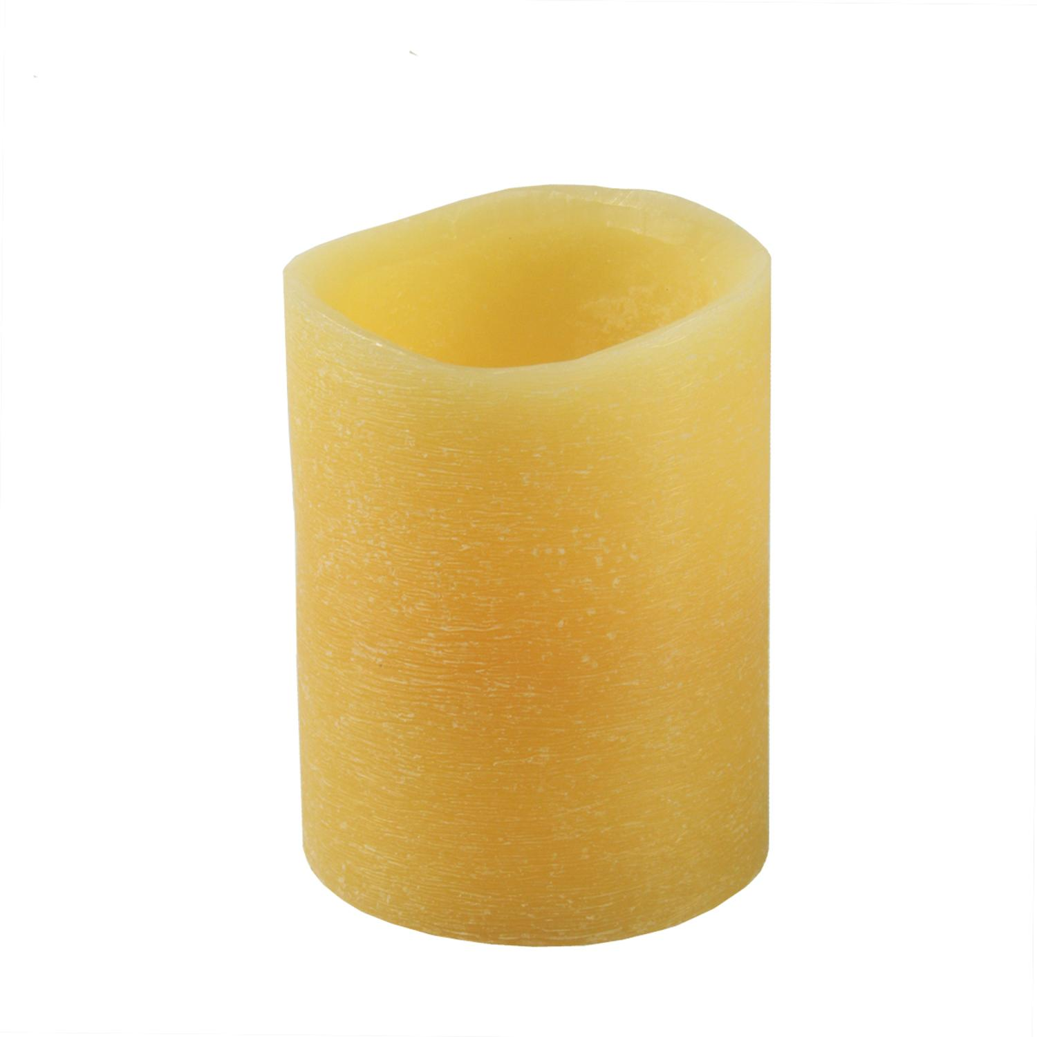 "4"" Golden Amber Battery Operated Flameless LED Wax Christmas Pillar Candle"