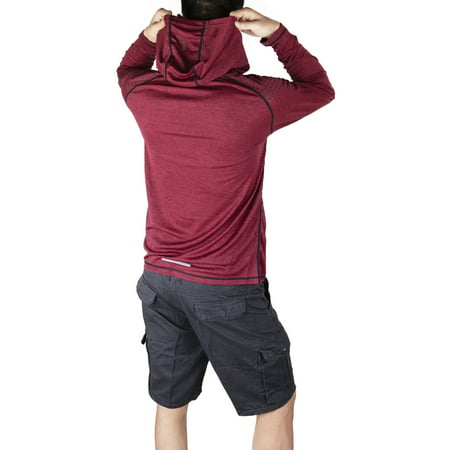 Oneill Uv Protection (LELINTA Men's Hooded Workout Sun Protection UPF 30+ UV Outdoor Long Sleeve T-Shirt Red)