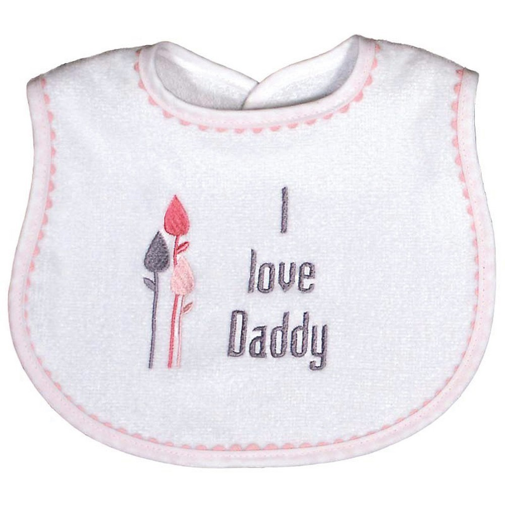 "Raindrops Baby Girls ""I Love Daddy"" Embroidered Bib, Pink"