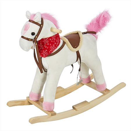 Best Choice Products Plush Rocking Horse Pony Ride On Toy w/ Sounds - White - Horse Racing Toy