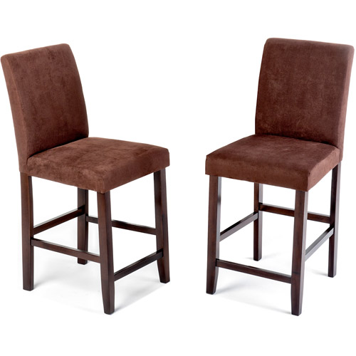 "Imagio Home Loft Counter Stools 24"", Set of 2,Brown Microfiber"