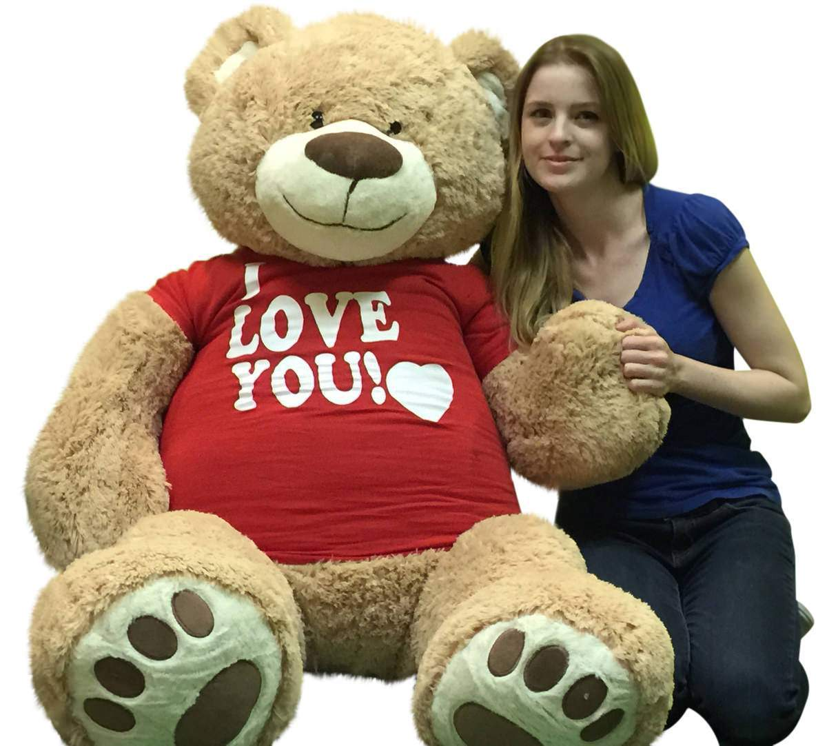 I Love You Giant 5 Foot Teddy Bear Soft 60 Inch Wears I Love You T-shirt Weighs 16 Pounds by BigPlush