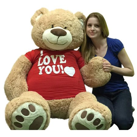 I Love You Giant 5 Foot Teddy Bear Soft 60 Inch Wears I Love You T-shirt Weighs 16 Pounds for $<!---->