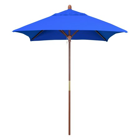 California Umbrella 6 ft. Square Marenti Wood Sunbrella Market Umbrella ()