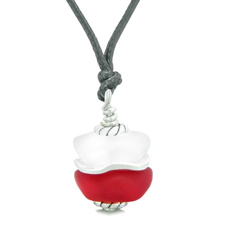 Sea Glass Icy Frosted Waves Double Lucky Red White Positive Energy Amulet Pendant Adjustable Necklace