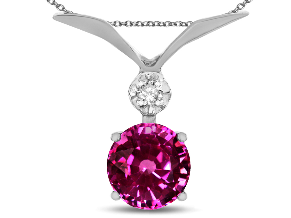 Star K Round 7mm Simulated Pink Tourmaline Pendant Necklace in 10 kt White Gold by