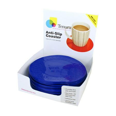 - Tenura 753721402 Silicone Non-Slip Round Coaster-Blue-5.5