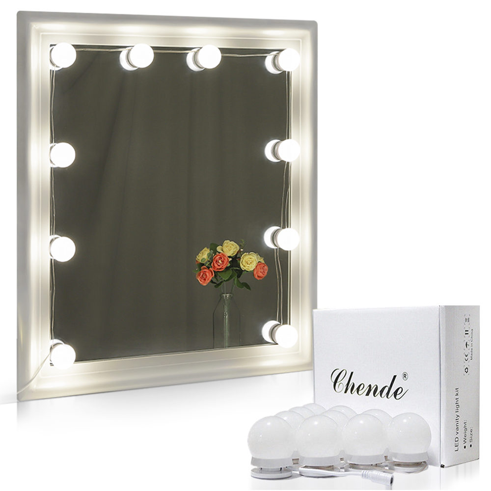 Chende Hollywood LED Vanity Mirror Light Kit for Makeup Dressing with Dimmable Light 10 Bulbs Gift, Length Adjudtable(Mirror Not Include)