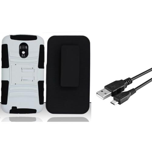 Insten For Samsung Epic Touch 4G D710/Galaxy S2 Heavy Duty Armor Style Case w/Holster - Black/White (+ Micro USB cable)