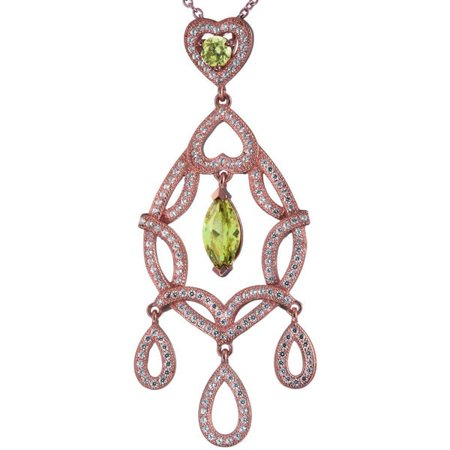 Suzy Levian Rosed Sterling Silver Double Heart Dangling CZ Pendant ()