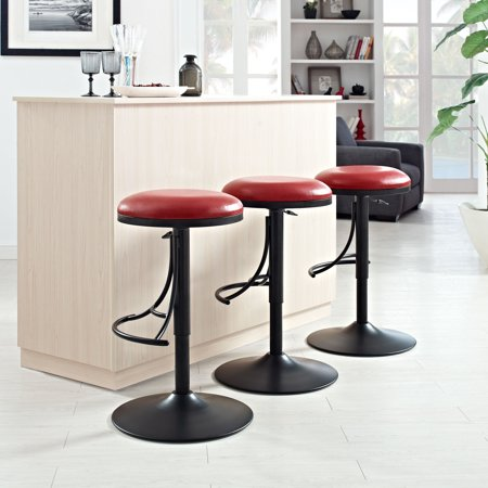 Super Jasper Backless Swivel Counter Stool In Black With Red Cushion Unemploymentrelief Wooden Chair Designs For Living Room Unemploymentrelieforg