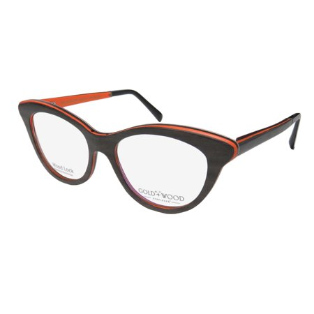New Gold & Wood Epi Womens/Ladies Cat Eye Full-Rim Wood Dark Brown / Orange / Silver Hip Prestigious Brand Wooden Cat Eyes Frame Demo Lenses 51-16-140 Flexible Hinges Eyeglasses/Eye Glasses - Cat Eye Glasses Frames