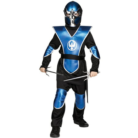 Blue Chrome Raven Ninja Boys Martial Arts Warrior Halloween Costume