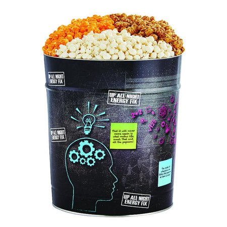 The Popcorn Factory Popcorn Gift Tin, Brain Food, 3.5 Gallons (Robust Cheddar, White Cheddar, Caramel)