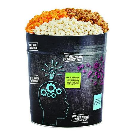 The Popcorn Factory Popcorn Gift Tin, Brain Food, 3.5 Gallons (Robust Cheddar, White Cheddar, Caramel) - Halloween Popcorn Tin