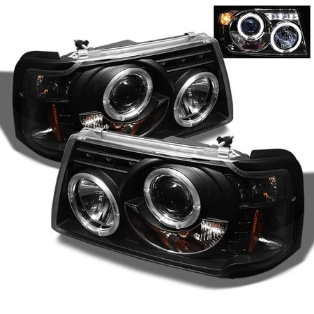 Fits 01-08 Ford Ranger Pickup Truck 1pc Black Bezel Halo Projector Headlights
