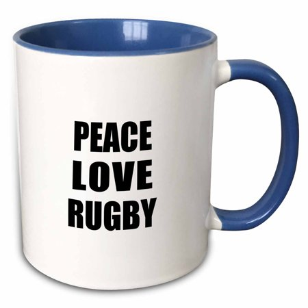 3dRose Peace Love and Rugby - Things that make me happy - Ruggers player gift - Two Tone Blue Mug, 15-ounce