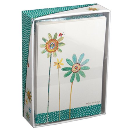 Pictura Green and Blue Flowers Box of 14 Blank Note Cards