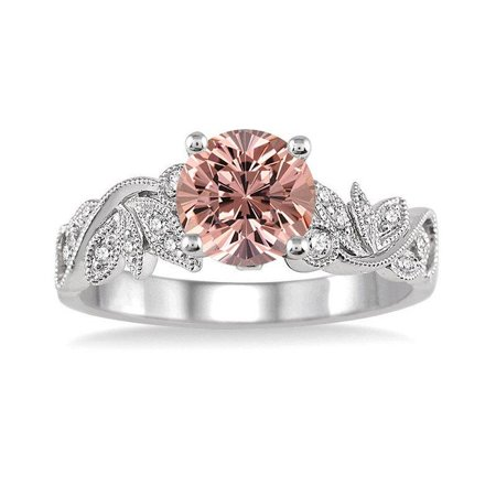 Limited Time Sale 1.25 Carat Round cut Morganite and Diamond Flower leaf shape Engagement Ring for Women in 10k White Gold ()