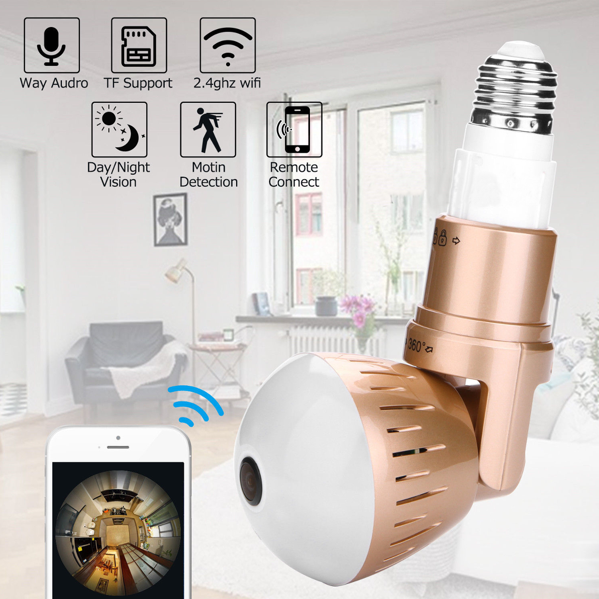 Light Bulb Security Camera IP Wireless WiFi Camera 360 Degree Panoramic Light Bulb Lighting Lamp Support Night Vision for Home Security