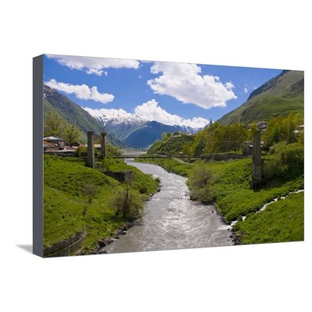 River Running Below the Famous Fortress Monastery Kazbegi Near the Chechnya Border, Georgia Stretched Canvas Print Wall Art By Michael - Georgian Border