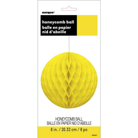Tissue Paper Honeycomb Ball, 8 in, Neon Yellow, 1ct