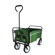 Tiramisubest Collapsible Utility Compact Wagon Cart, Garden Folding Beach Carts With Big Wheels For Shopping, Outdoor And Camping - Green