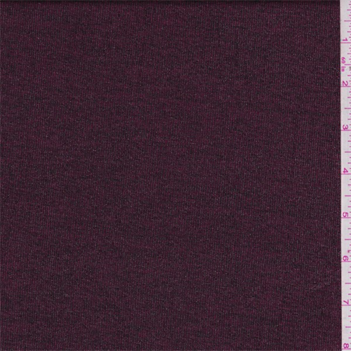 Burgundy Space Dyed Metallic Jersey Knit, Fabric By the Yard