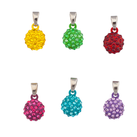 Lux Accessories Pave Crystal Fireball Simple Pendant Interchangeable Charm Necklace Set Yellow Green Red Pruple Turquoise Kids Girls Women (7 Charms)