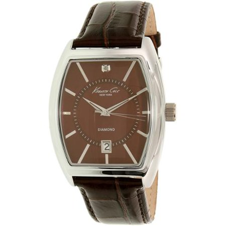 Kenneth Cole New York Mens Stainless Steel Case Leather Strap Brown Dial Silver Watch - 10014805