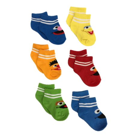 Sesame Street 6 Pair Infant Boys Elmo Big Bird Cookie Monster Baby Socks
