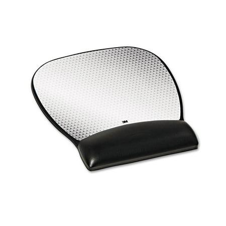 3M Precise Leatherette Mouse Pad w/Wrist Rest, Nonskid Base, 8-3/4 x 9-1/4, Black ()