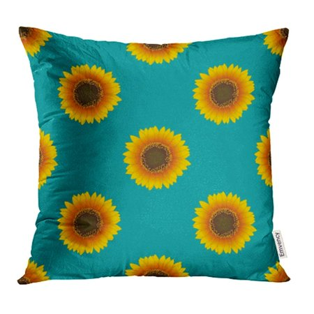 USART Blue Abstract Sunflower on Green Teal Brown Beautiful Beauty Bloom Blossom Bright Pillowcase Cushion Cases 16x16 inch