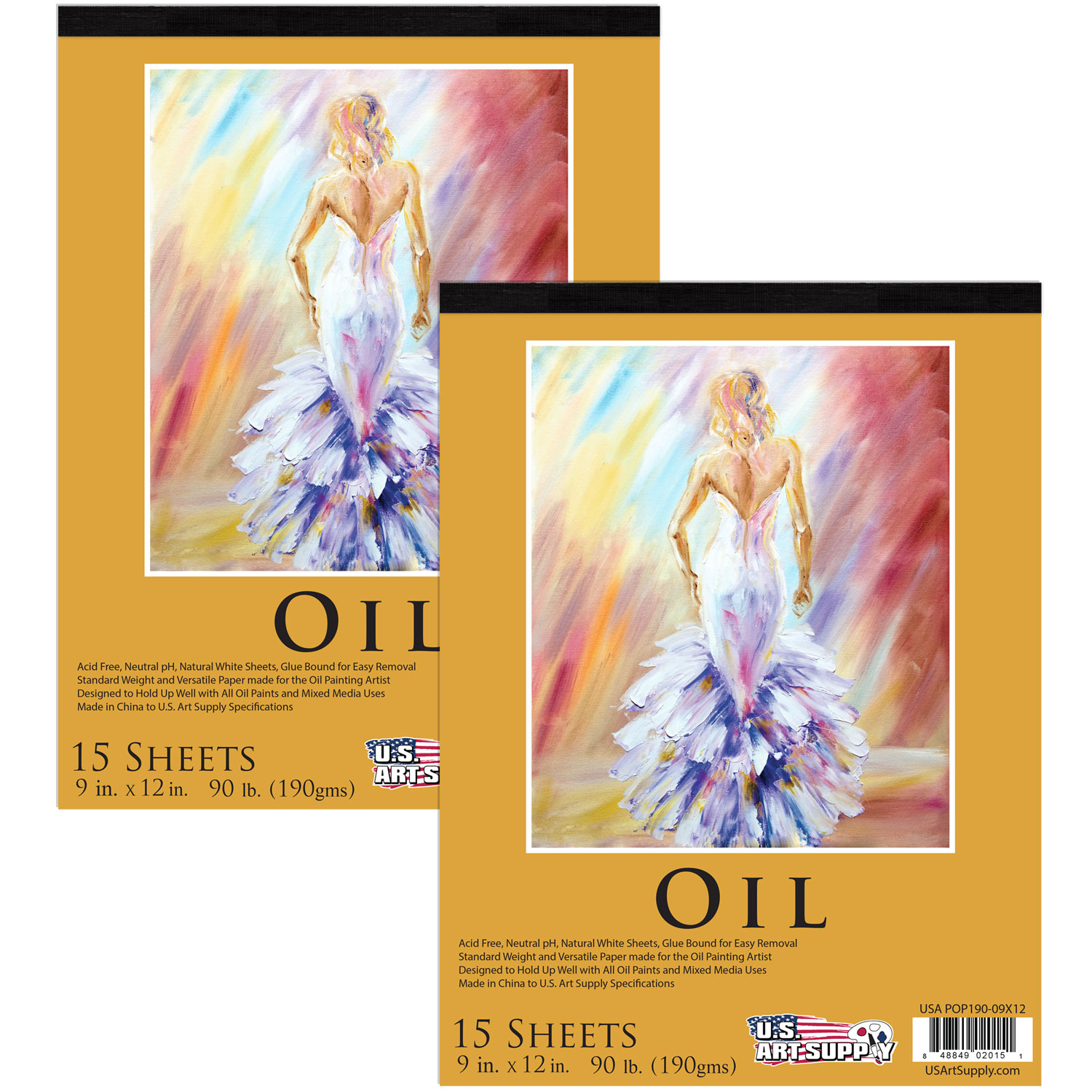 "2 Pack of 9"" x 12"" Premium Heavy-Weight Oil Painting Paper Pad 90lbs (190gsm) 15-Sheets"