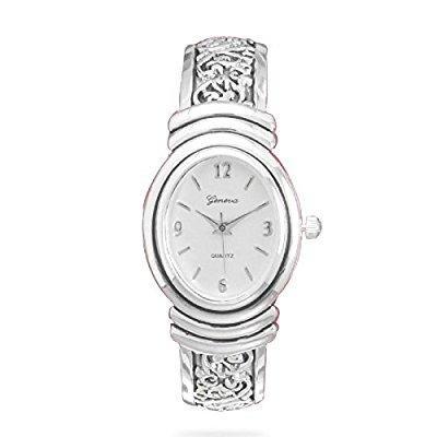 Hinged Fashion Cuff Watch (Womens Oxidized Scroll Design Hinged Fashion Cuff Watch White Dial W9132)