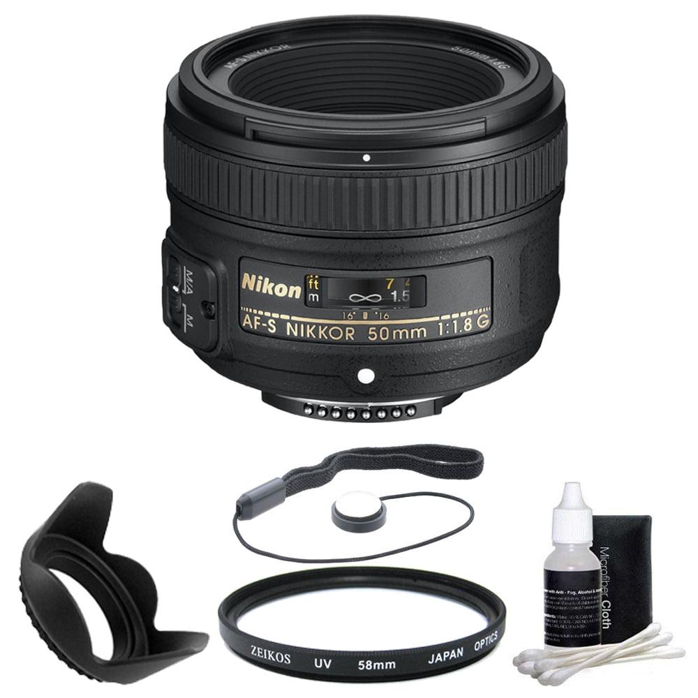 Nikon 50mm f / 1.8G AF - S NIKKOR Lens for Nikon Digital SLR Cameras (2199) with 58mm UV Filter, 58mm Hard Lens Hood, 3 pc. Lens Cleaning Kit, and Lens Cap Keeper