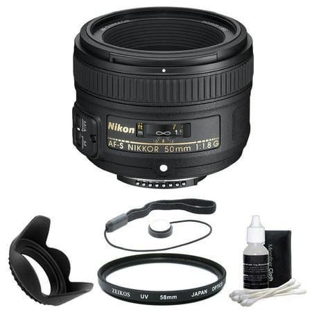 Nikon 50mm f/1.8G AF-S NIKKOR Lens for Nikon Digital SLR Cameras (2199) with 58mm UV Filter, 58mm Hard Lens Hood, 3 pc. Lens Cleaning Kit, and Lens Cap Keeper