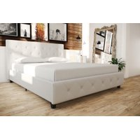 Dakota Upholstered Faux Leather Platform Bed with Wooden Slat Support and Tufted Headboard and Footboard, White - Queen