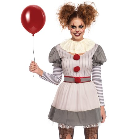 Leg Avenue Women's 2 PC Creepy Clown Costume, Multi, - Old Halloween Costumes Creepy