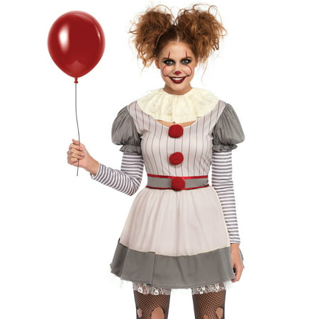 Leg Avenue Women's 2 PC Creepy Clown Costume, Multi, MED/LGE - Clown Costume Accessories Adults