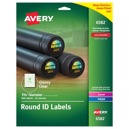 Avery Glossy Clear Permanent Multipurpose Round Labels, 1.625 Inch Diameter, Pack of 500 (6582) Clear Label Sleeve Round Ring