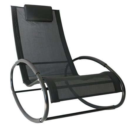 Rocking Lounge (Outsunny Patio Rocking Lounge Chair Orbital Zero Gravity Seat Pool Chaise w/ Pillow  Black )