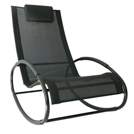 Outsunny Patio Rocking Lounge Chair Orbital Zero Gravity