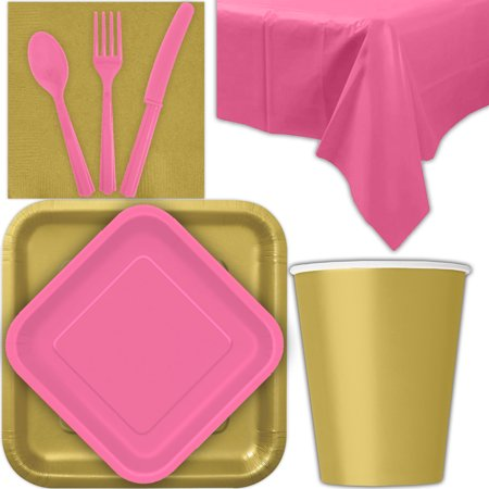 Disposable Party Supplies for 28 Guests - Gold and Hot Pink - Square Dinner Plates, Square Dessert Plates, Cups, Lunch Napkins, Cutlery, and Tablecloths:  Tableware Set