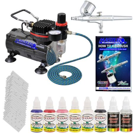 Nail Art Airbrush System Kit Air Compressor Paint Color Set  300 Stencil Designs