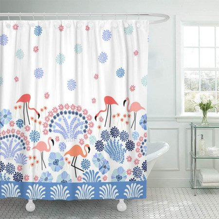 - PKNMT Blue 50S Fantasy Landscape Border with Flamingo and Tropical Plants Pink 60S Abstract Birds Blossom Boho Waterproof Bathroom Shower Curtains Set 66x72 inch