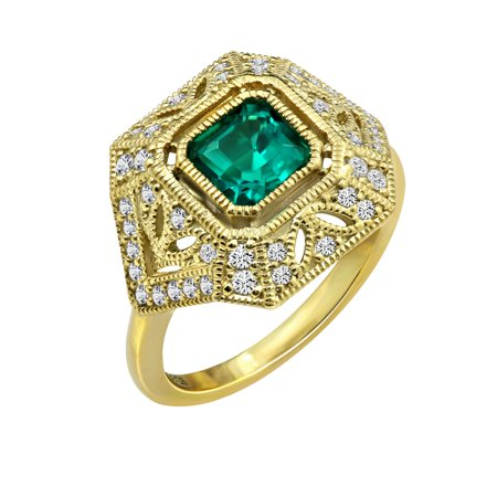 Gemour Yellow Gold Plated Sterling Silver Synthetic Emerald Square Cut Swarovski Zirconia Antique Ring, Size 6 ()