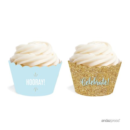 Signature Baby Blue, White, Gold Glittering Party, Cupcake Wrappers, 20-Pack